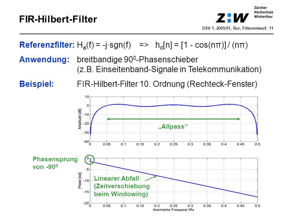 FIR-Hilbert-FilterDSV 1, 2005/01, Rur, Filterentwurf, 11. Referenzfilter: Ha(f) = -j·sgn(f) => hd[n] = [1 - cos(nπ)] / (nπ)